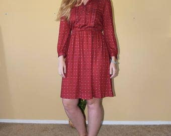 Red Riding Hood- Vintage Long Sleeve Red Printed Dress with Button Up High Neckline Womens Size 6