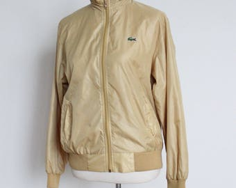 Vintage Lacoste Windbreaker Jacket Bomber // Izod Lacoste Gold Lightweight Coat with Hood