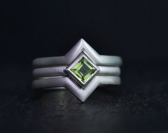 Princess Cut Peridot Ring in Sterling Silver, 4mm Peridot, Stacking Ring, August Birthstone Ring, Peridot Solitaire, Ready to Ship Size 6.75
