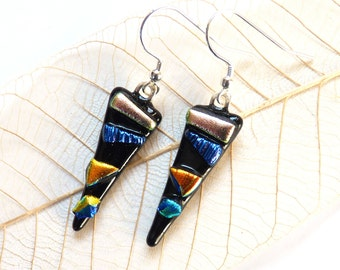 Fused glass earrings ~ dichroic glass drop earrings, handmade glass drops, dichro jewelry, unique ear rings, gift for women, present for her
