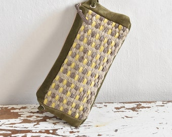 Mini Purse in Olive Green Suede. Leather and Natural Fibre Handweave.  Converts to Crossbody.  Ready to Ship OOAK