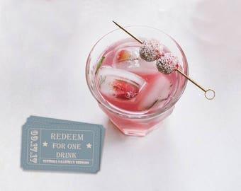 Drink Ticket, Ticket Stub, Editable Ticket, Souvenir, Memento, Cocktail Ticket, Editable PDF, Editable File, Instant Download, Drink Coupon