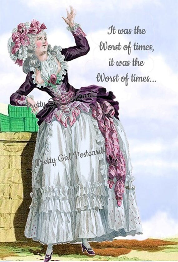 It Was The Worst Of Times It Was The Worst Of Times Marie Antoinette Card Funny Postcard Pretty Girl Postcards Free Ship in USA