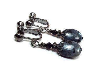 Larvikite Gemstone Clip on Earrings Blue Labradorite Drop Screw Back Blue Grey and Black Boho Jewelry