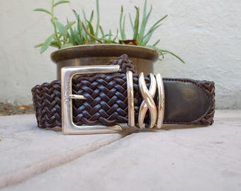 Womens Small Size 28 Brighton Thick Brown Leather Woven Belt Hippie Hipster High Waisted Braided Belt Aztec Mexican Native Authentic Boho