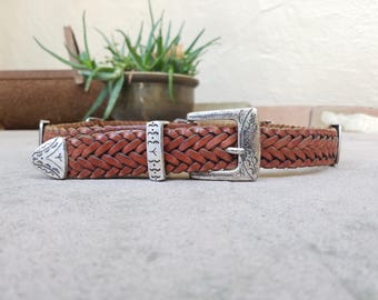 Vintage Womens Medium Ann Taylor Genuine Leather Woven Briaded Boho Belt Concho Belt Brown Leather Belt Aztec Southwestern Belt