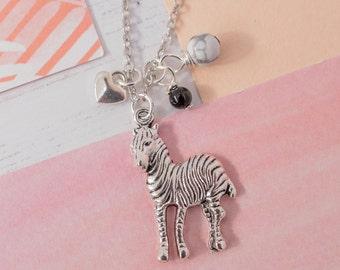Zebra Necklace, Zebra Charm Necklace, Zebra Pendant, Zebra Jewellery, Zebra Charm, Zebra Gift, Monochrome Necklace, Monochrome Gemstones