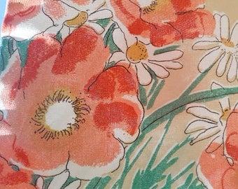 NOS Vera Oval Floral Tablecloth, Unused 1979 Cotton Vera's Garden Tablecloth, Peach Orange Poppies & Daisies on Beige Background, Mint