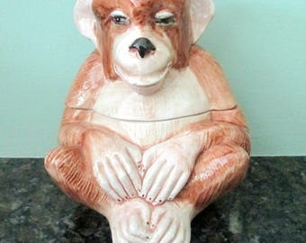 Horchow Two Piece Ceramic Monkey Made in Italy / Kitsch Candy Dish Trinket Holder