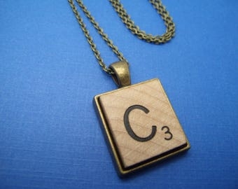 Upcycled Steampunk Scrabble Tile Initial Pendant Necklace by Upcycled Elements