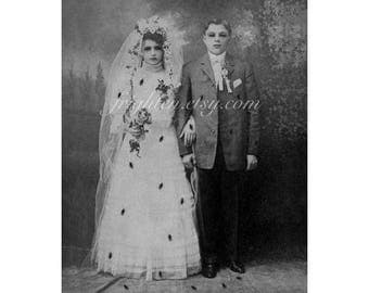 Zombie Bride and Groom 8.5 x 11 Inch Collage Art Print, Zombie Wedding, Black and White, Halloween Wall Art, Halloween Decor