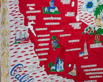 California Scarf Vintage Souvenir Silk Map 1950s Sacramento Los Angeles Laguna Beach San Diego Ventura Santa Monica San Fran Berkeley 7NH
