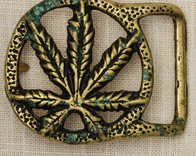 Marijuana Leaf Belt Buckle Solid Brass Pot Weed Vintage Belt Buckle 7Q