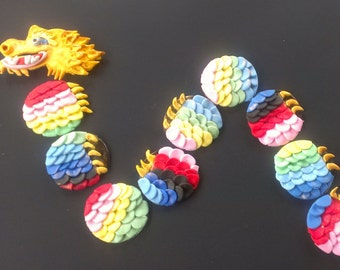 14 Chinese Dragon cupcake toppers--Chinese New Year, Dragon