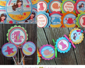 Meramid Party Package -Party Bundle -Mermaid and Ocean Animals -First Birthday -1st Birthday -Banner -Centerpiece -Favor tags -Under the Sea