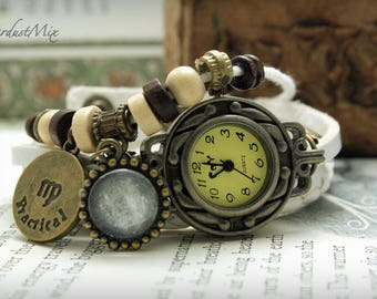 Women watch with Virgo zodiac sign charm and ruling planet Mercury leather bracelet ladies watch gift for her boho watch festival watch
