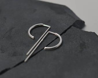 Silver hoop earrings medium Open hoop threader earrings Unique arch earrings