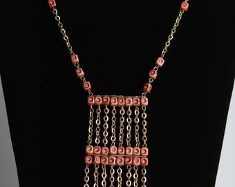 Vintage Gold Chain And Rust Colored Beaded Necklace
