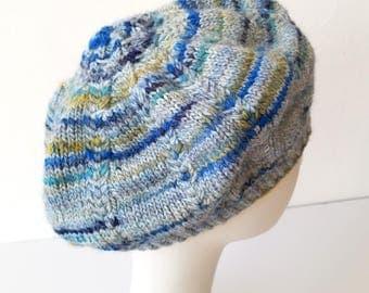Hand Knit Meringue Beret in Glacier Mix – Adult One Size