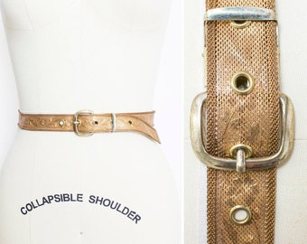 Vintage 1950s Belt - Gold Metal Mesh Floral Etched Waist Belt - Small / XS