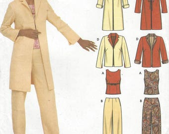 Easy Chic Womens Lined Jacket or Duster, Fitted Top & Pants Simplicity Sewing Pattern 9577 Size 14 16 18 20 Bust 36 38 40 42 UnCut