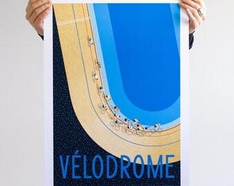 Cycle Print, Track Cycling Race Art, VELODROME