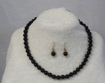 Necklace Beaded Black Onyx with Earrings