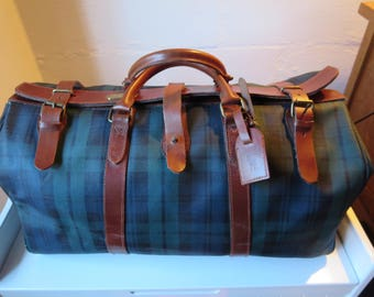 Authentic POLO Ralph Lauren Duffel Bag - POLO Leather and Plaid Canvas Travel Bag Polo Duffle
