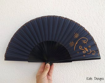 Navy and Bronze Fancy Hand Fan by Kate Dengra Made to Order Spanish Hand Held Fan