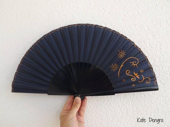 Navy and Bronze Fancy Hand Fan