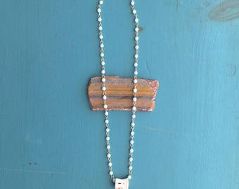 Baby Blue Bead Chain and Bone Necklace