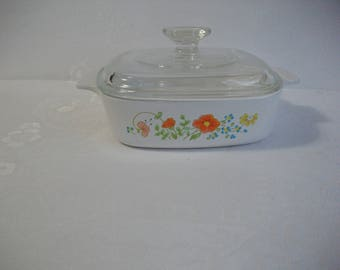 Wildflower Corning Ware Casserole Dish with Lid,  Vintage Corning Ware Cookware