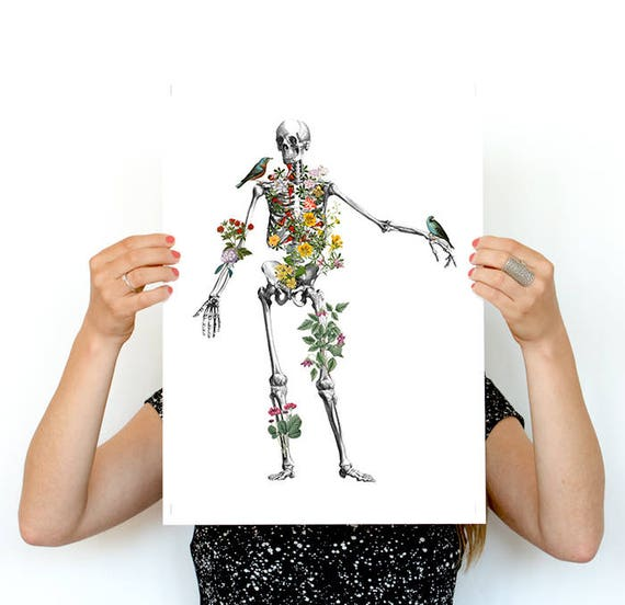 Human Skeleton full of nature. Anatomical decoration- Medicine and science anatomy art, Medicine student Gift SKA142PWA3