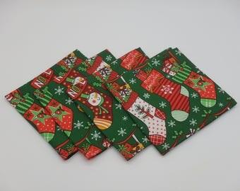 Christmas Stockings, Christmas Dinner Napkins, Holiday Luncheon Napkins, Cocktail Napkins, Lunchbox Napkins, Christmas Stocking Print