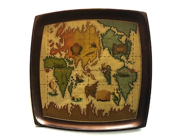 Vintage Old World Map Serving Tray