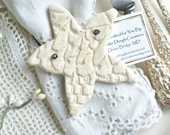 Starfish Salt Dough Bridal Shower Beach Wedding Favors Napkin Rings / Nautical Decorations Set of 10