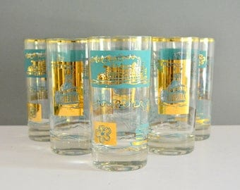 Vintage Gold Aqua Tumblers - Libbey Steamboat Southern Comfort Ship Boat Vintage Drinking Glasses Kitchen Blue Turquoise