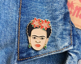 Frida Red Florals Pin, Frida Kahlo Pin, Soft Enamel Pin, Jewelry, Art, Artist, Gift (PIN68)