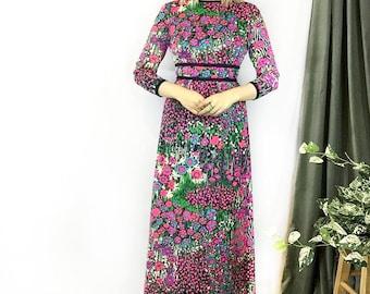 Vintage 1970s Floral Landscape Midi Dress size Small
