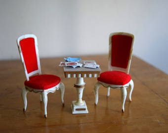 Vintage Petite Princess Dollhouse Chairs & Table - Miniatures, Fairy House, Mid Century