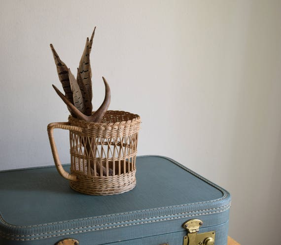 Small Unique Vintage Woven Basket - Boho, French Farmhouse, Natural, Folk