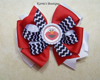 ELMO Hair Bow or Headband / Red & Black / 123 Sesame Street / Big Bird / Triple Stacked / Infant / Baby / Girl / Toddler/ Boutique Accessory