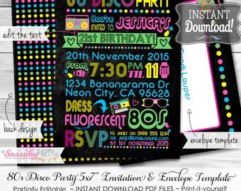 80s Neon Disco Invitation - INSTANT DOWNLOAD -  partially Editable & Printable Birthday Retro Eighties Party Invite by Sassaby Parties