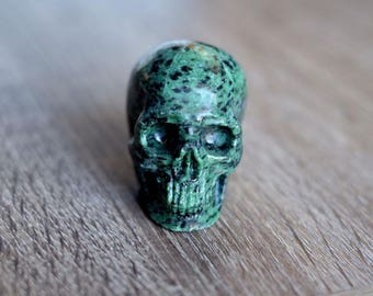 Ruby Zoisite Stone Carved Crystal Skull