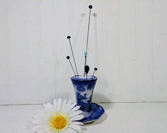 Flow Blue Hat Pin Holder + Six Antique Hatpins Set Flo Blue Romantic Pattern M. Staffordshire England Porcelain Millinery Display Collection