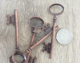 ON SALE Rowling - Skeleton Keys - 10 x Antique Copper Skeleton Keys Vintage Keys Large Key Set