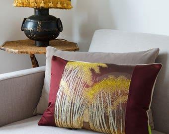 Nature Inspired Maroon Pillow, Vintage Silk Japanese Obi Cushion, Burgundy Cushion, New Homeowner Gift, Bamboo Forest, Designer Velvet SILK