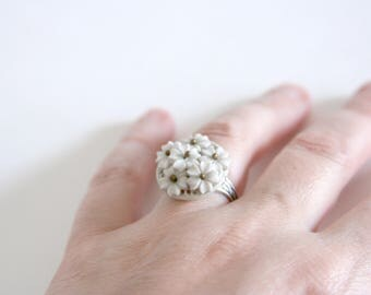 White Flower Ring Shabby Chic Jewelry made with a large vintage button