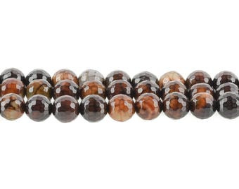 8mm Round Dyed FACETED Chocolate Brown AGATE Beads, full strand, Natural Gemstones gag0066