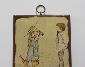 Vintage Holly Hobbie Photographer Cartoon Wooden Wall Hanging 1970s